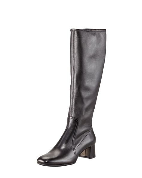 prada stretch leather square toe boot in black lyst