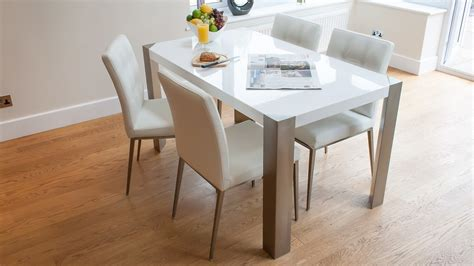White Gloss Dining Table Set White Gloss Table Black Or White Faux Leather Chairs Dining Set Seats 4