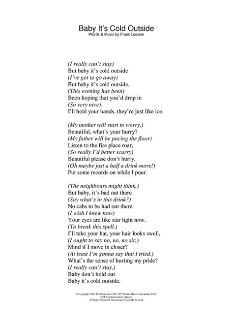 Baby It S Cold Outside Printable Lyrics | lyrics to baby its cold outside one of my favorite