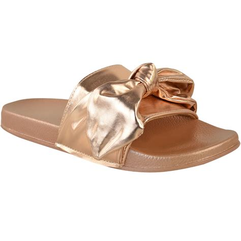 flat sandals with bows womens bow sliders sandals flat comfy slides