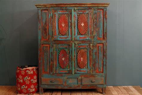 Antique Oak Buffet Sideboard Antique Distressed Multi Color Blue Red Indian Door