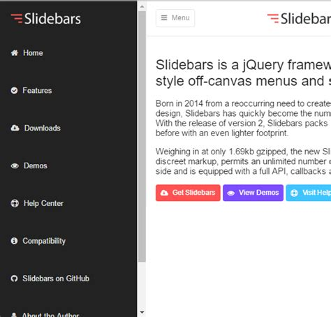Top 10 Best Slide Sidebar Menu Drawer Javascript And Jquery Plugins Our Code World Free Website Templates With Sidebar Menu