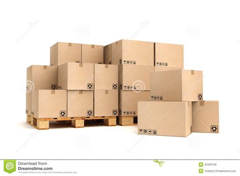 Warehouse With No Background Check Cardboard Boxes On Pallet Stock Photo Image Of Loading