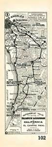 southern california missions map 1915 auto club map showing the route of el camino