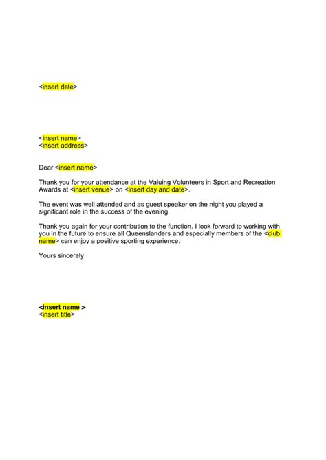 Letter For Guest Speaker Guest Speaker Thank You Letter In Word And Pdf Formats