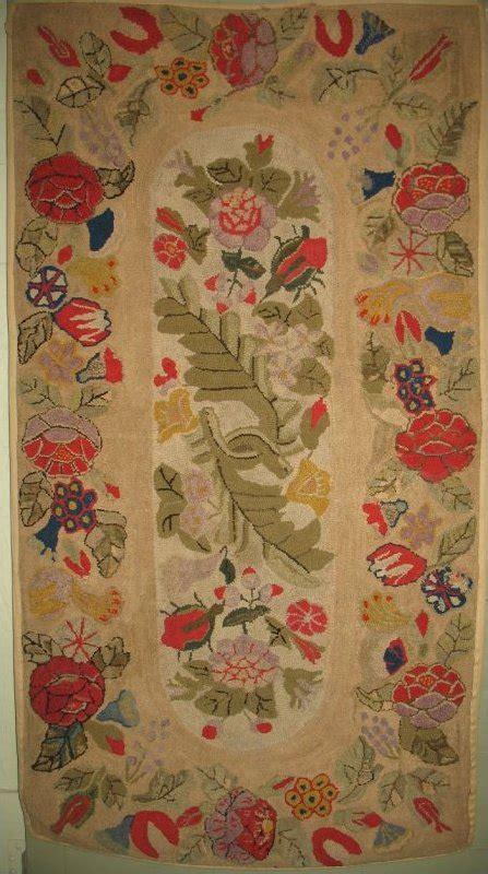 floral spray rug floral spray floral border antique hooked rug