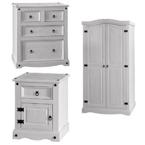 coroner bedroom furniture set in white washed pine 25979