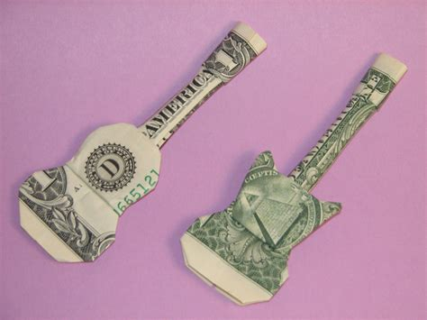 Origami Guitar Dollar Bill - acoustic electric guitars money origami crafts