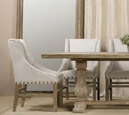 Nailhead linen upholstered chairs farmhouse dining room new york