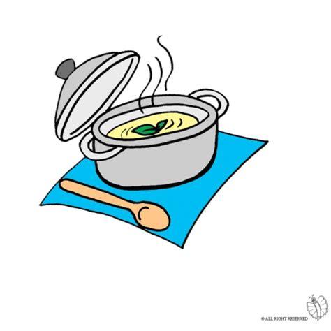 immagini cucinare disegno di pentola con minestra a colori per bambini