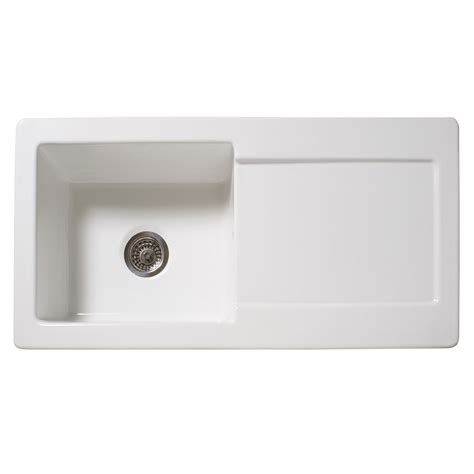 White Ceramic Kitchen Sinks Reginox Contemporary White Ceramic 1 0 Bowl Kitchen Sink With Tap