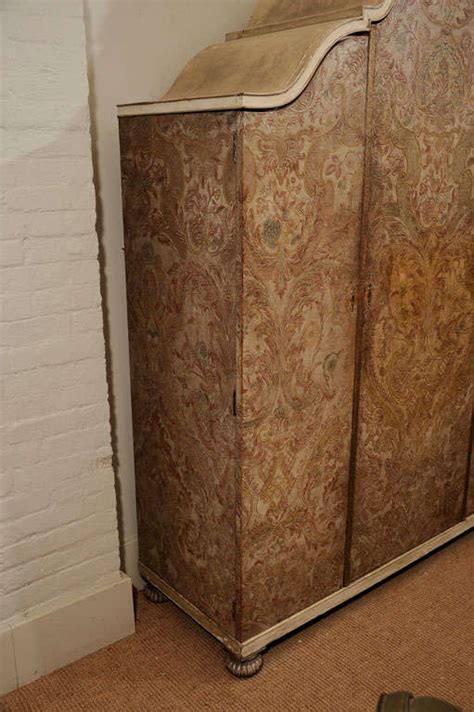 1930s French Embossed Painted And Gilt Leather Covered Jonathan Franc Armoires And Wardrobes