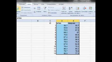 test t student excel t de student con excell 2010 espa 241 ol