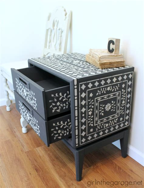 Stenciling Furniture by Indian Inlay Stenciled Table In The Garage 174