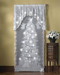 Lace Shower Curtain With Valance Lighted Holiday Angels Christmas Lace Curtain Panel Window