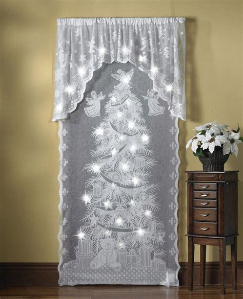 lighted christmas curtain panels lighted holiday angels christmas lace curtain panel window
