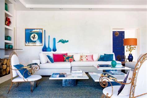 decorar sala blanca hermosa sala blanca con sof 225 azul