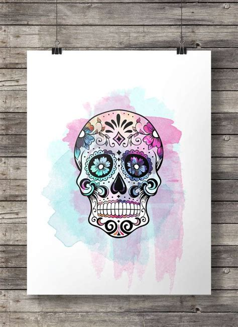 up letter with sugar watercolor sugar skull printable wall instant