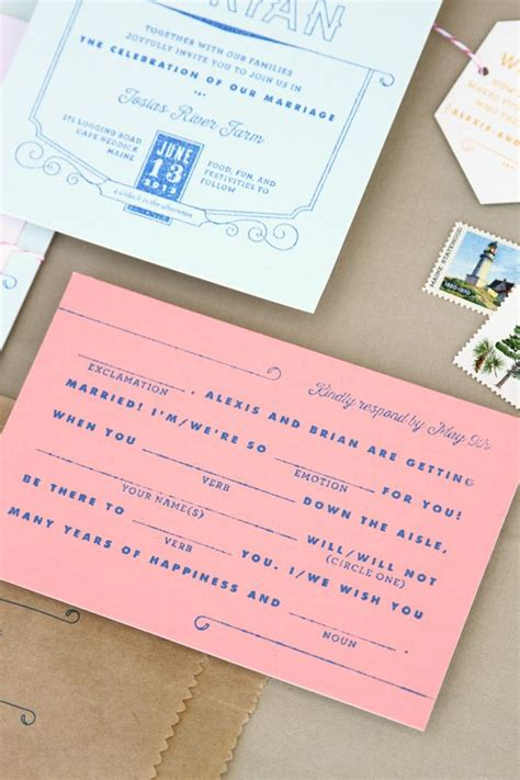 custom rubber sts for wedding invitations mad libs rsvp postcard printed with a custom rubber st