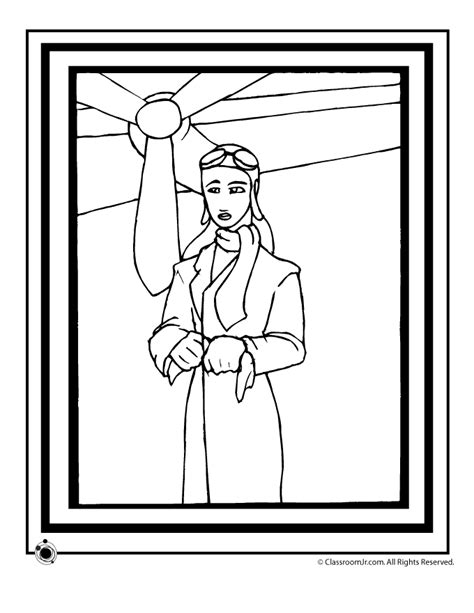 amelia earhart coloring page woo jr kids activities