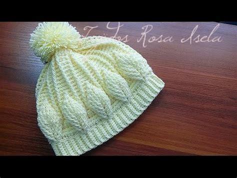 como hacer gorros tejido de colombiana gorro con hojas en relieve crochet youtube