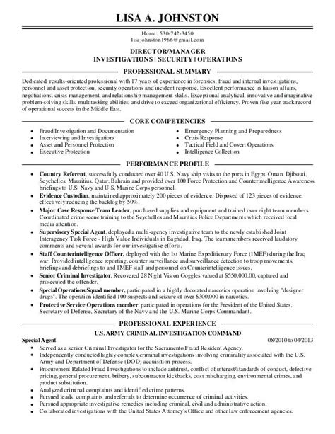 Detective Resume by Executive Criminal Investigator Resume Template
