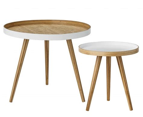 Set Of 2 Round Tables Scandinavian Coffee Bamboo Scandinavian Coffee Tables