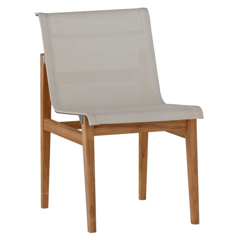 teak sling chair coast teak sling canvas outdoor side chair kathy kuo home