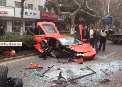 crashed lamborghini lamborghini aventador wrecked in head on crash in china