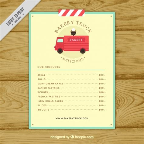 bakery truck menu template vector free download