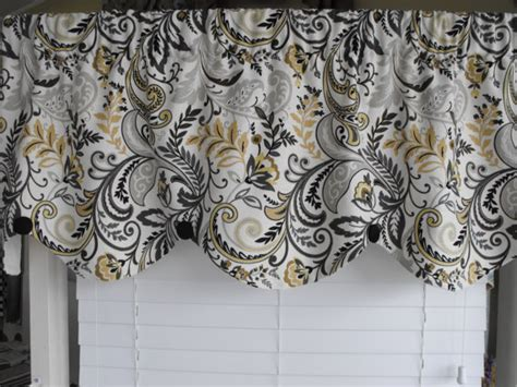 Black And Yellow Valance Home Decor Valance Gray Yellow Scalloped Valance By