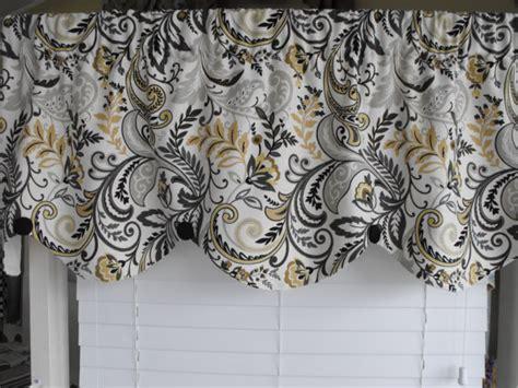 Black And Gray Window Valance Home Decor Valance Gray Yellow Scalloped Valance By