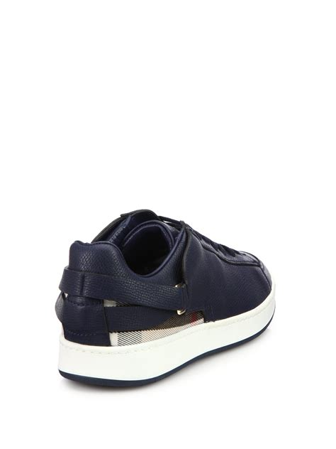 blue leather sneakers burberry check trimmed leather sneakers in blue lyst