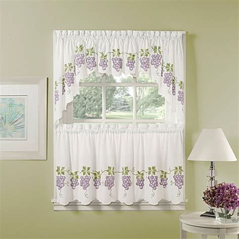 grape curtains air brushed grapes window curtain tiers bed bath beyond
