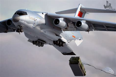 military transport cgi of chinese y 20 heavy military transport aircraft in