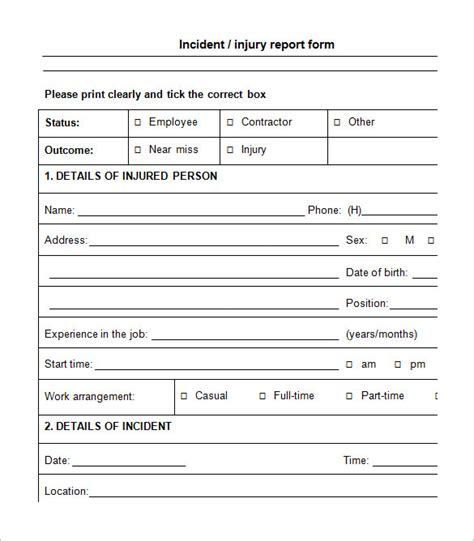 injury report form template 9 employee incident report templates free pdf word