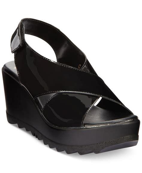 callisto torro platform wedge sandals in black lyst