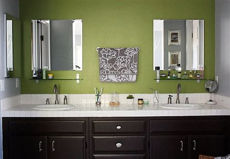 green and brown bathroom green walls chocolate brown cabinets bathroom remodel