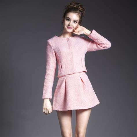 2015 autumn style 2 set skirt and top pink o neck sleeve woolen tops mini