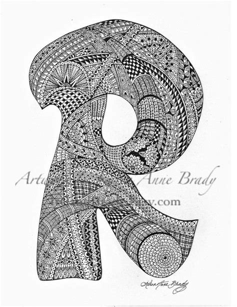 doodle inisial aceo alphabet letter r zentangle doodle initial by