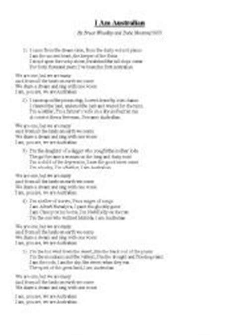 australian sog worksheet i am australian song lyrics and