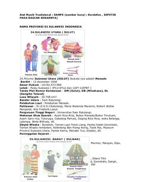 nama 33 provinsi di indonesia lengkap dengan pakaian gambar rumah adat tarian senjata kalimantan utara