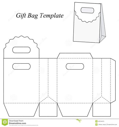 gift bag net template blank gift bag template stock vector image 48154670