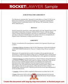 subcontractor agreement form template with sample