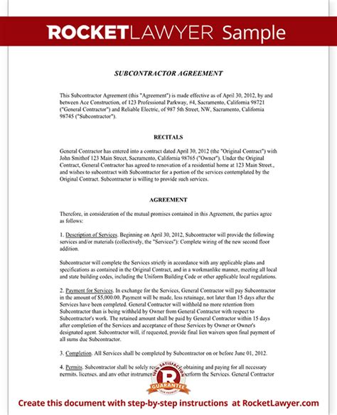 subcontractor agreement form template with sle