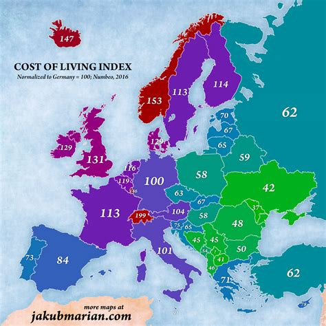 living index local price index and purchasing power index in europe
