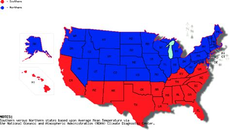 us map northern states map of northern versus southern united states based on