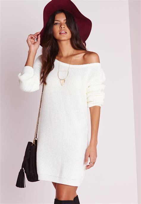 jumper dress missguided shoulder knitted jumper dress in