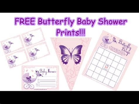 Purple Butterfly Baby Shower Print Set!   YouTube