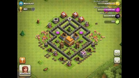 layout coc town hall level 4 town hall level 4 strategy guide clash of clans tips